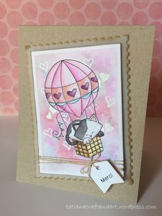 French Kitty card with Hot Air Balloon by Tatiana using Stamps by Newton's Nook Designs