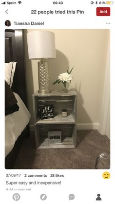 Dorm Room Colors, Crate Side Table, Crate Nightstand, Living Room Decor, Bedroom Decor, Pallet Ideas Easy, Dream Decor, Repurposed Furniture, Apartment Living
