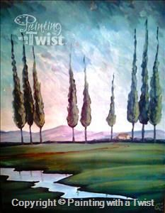 Green Landscape - Syracuse, NY - Liverpool Painting Class - Painting with a Twist