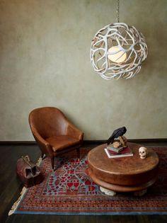 sphere antler chandelier, small area chandeliers, natural, western art. Shawn Rivett Designs