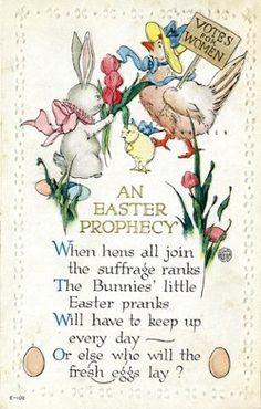 This postcard carried two messages: Happy Easter and woman suffrage. #eggcellent
