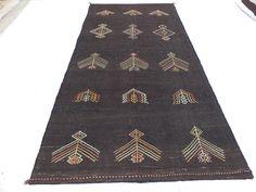 "Brown Kilim Rug,5,6""x12"" Feet 169x368 Cm Long Handmade Vintage Turkish Kilim Rug,Anatolian Area Woven Kilim Rug,Traditional Kilim Rug."