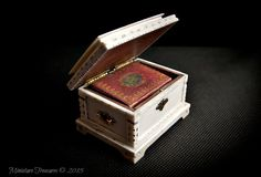 Miniature Ivory Casket that contains a Book of hours, Dimensions are 40mm Width x 27mm Height and 30mm Depth The book measures 25mm x 20mm.