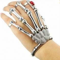 Halloween argento punk rock scheletro anello osso braccialetto mano