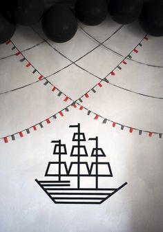 Washi tape pirate party decor
