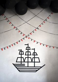 Washi tape pirate party decor....dk great idea use it for Some Viking runes decor