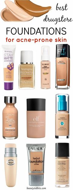 Heal & conceal it with these best drugstore foundations for oily, acne-prone skin. Each of these offer all day shine-free, lightweight coverage that lets skin breathe and won't clog pores. My fave is the stay matte foundation x Foundation Acne Prone Skin, Beste Foundation, Best Drugstore Foundation, Drugstore Beauty, Best Foundation For Acne, Best Light Weight Foundation, Makeup Foundation, Skin Matching Foundation, Best Drugstore Dupes