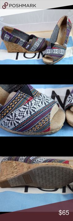 """Toms Lina Wedges with Ethnic Fabric Really cute ethnic print Toms Wedges.  The print looks a lot like some Guatemalan fabric that I have but I could be wrong.  The colors and pattern are great!  The heels are quite high at 3"""".  I threw the box out but they have been stored in the sack. Feel free to ask any questions. Toms Shoes Wedges"""