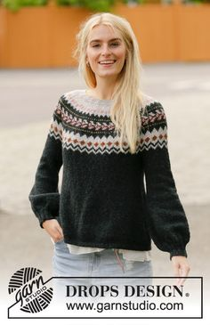 Ravelry: After Midnight Sweater pattern by DROPS design Drops Design, Nordic Pullover, Nordic Sweater, Sweater Knitting Patterns, Knit Patterns, Fair Isle Knitting, Free Knitting, Magazine Drops, How To Purl Knit