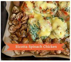 Low Carb Hähnchen Backofen Rezept mit Spinat-Ricotta Topping. Ruck zuck fertig und ohne viel Aufwand. Ganze 47g Eiweiß pro Portion. Nur 4g Kohlenhydrate.