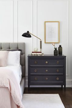 Dream Home Interior A bedroom with a grey linen tufted headboard, pink sheets, and a petite dark blue dresser. Blue Dresser, Dresser As Nightstand, Nightstand Ideas, Small Dresser, Dresser Ideas, Cozy Bedroom, Master Bedroom, Bedroom Ideas, Large Bedroom