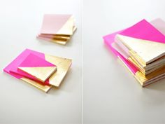 pink and gold diy notebooks Diy Cahier, Diy Projects To Try, Craft Projects, Craft Ideas, Fun Ideas, Project Ideas, Decor Ideas, Do It Yourself Wedding, Diy Notebook