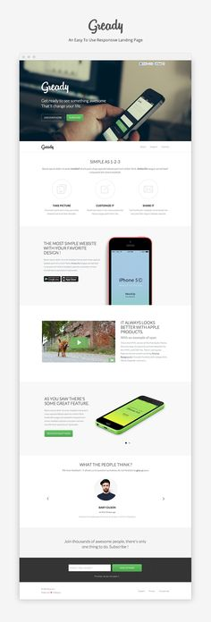 Gready - An Easy To Use App and Landing Page - HTML / CSS on Creattica: Your source for design inspiration