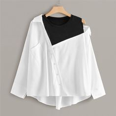 Casual Contrast Panel Asymmetrical Neck Plus Size Blouse - White Girls Fashion Clothes, Teen Fashion Outfits, Mode Outfits, Trendy Fashion, Punk Fashion, Lolita Fashion, Crop Top Outfits, Cute Casual Outfits, Stylish Outfits