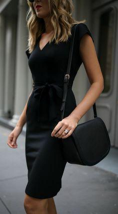 Classic black sheath dress + ankle strap black pumps {Eliza J, Sam Edelman, affordable workwear, under $100, office style, wear to work}