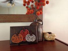 Pumpkin trio string art sign by my2heARTstrings on Etsy