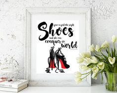 This Marilyn Monroe décor from Indigo Ink Boutique will remind you that if You Give a Girl the Right Shoes, She Can Conquer the World! Our Christian Louboutin black and red heels fashion art is a beautiful, elegant, and inspirational print download. All of our fashion wall art will enhance your home, office, or dorm décor as well as giving an inspiring message to make you feel motivated and uplifted. So channel your inner Marilyn Monroe and download your girl boss art print today! #GirlBoss…