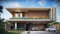 Modern House Facades, Modern Architecture House, Facade Architecture, Duplex House Design, House Front Design, Facade Design, Exterior Design, Modern Villa Design, Minimalist House Design