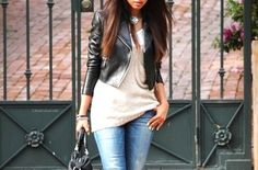 leather jacket, sweater, jeans casual chic