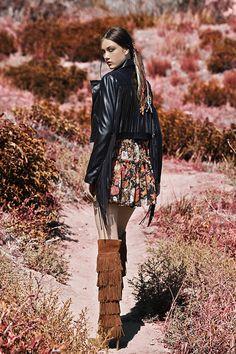 Fringe jacket, floral dress & fringe boots - coming soon! #NastyGalVintage #VintageWestern
