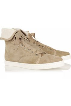 Lanvin | Shearling-lined suede high-top sneakers | NET-A-PORTER.COM