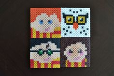 Ok all you Potter-heads. This ones for you. Set your butter beer down on these adorable pixelated Harry Potter characters. Can we get any more 90s nostalgic? I think not. Makes a perfect gift for every Harry Potter fan. Would also be cute framed. -4 coasters (Harry, Hermione, Ron and