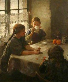 The Tea Party-Harold Harvey (1874 – 1941, English)