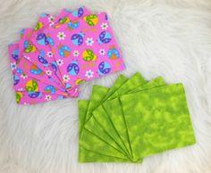Cloth Wipes, Washcloths, Burp Cloths, Handkerchiefs, Dust Cloths Set of 12 in Love Bugs