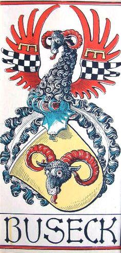 """Wappen des Geschlechts """"von Buseck"""" -- (Woodcut) Holzschnitt in 4 Farben von Otto Hupp; 29 x 13,5 cm; (aus dem """"Mchn. Kalender"""" von 1919)"""
