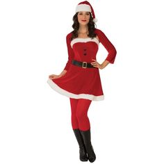 Sexy Santa Babe Womens Costume ($43) ❤ liked on Polyvore featuring costumes, halloween costumes, sexy christmas costume, womens angel costume, womens santa costume, women shrugs and sexy women halloween costumes