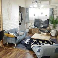 ramcoさんの、カリフォルニアスタイル,journal standard Furniture,ニトリのクッションカバー,ロデチェア,JSF,4.5帖,デニムソファ,こたつ,リビング,のお部屋写真
