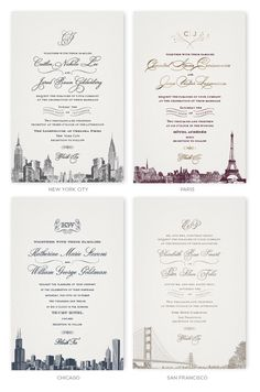 Wedding Invitations with skylines of New York, Paris, Chicago and San Francisco
