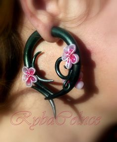 The Cherry Earrings/ Faux gauges/Gauge by RybaColnce on Etsy