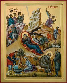 Nativity by Maria Sigala e Nikolaos Byzantine Icons, Byzantine Art, Religious Icons, Religious Art, Renaissance Image, Greek Icons, St John The Evangelist, Christian Artwork, Russian Icons