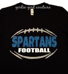 Custom Glitter Football Team T-Shirt - Personalizable Team Name - Multiple Color Options