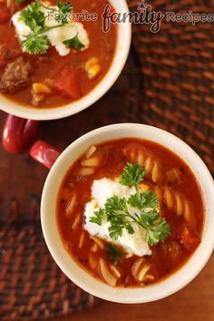 Lasagna Soup - Yummmmm... sooo good!  Love the big clump of different cheeses you put on the top!  (My changes-- 1 lb. beef instead of 1.5 lbs. italian sausage.)