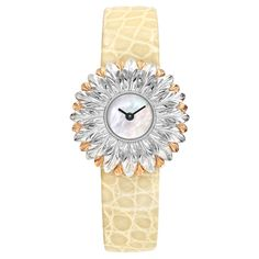 Buccellati Anthochron Bellis White & Rose Gold  The Buccellati Anthochron Bellis watch features a Swiss-made quartz movement; white mother-of-pearl dial; and 28mm, 18k white and rose gold case, hand-engraved to resemble a bellis flower, on a pale yellow alligator strap with an 18k white gold ardillon buckle, hand-engraved with a scrolling motif. Price: EUR 13,345.89