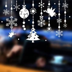 Tuopuda Window Sticker Merry Christmas Snowflake Snow Ball and Angel Pattern Wall Sticker Door Window Decal Home Decoration (angel)
