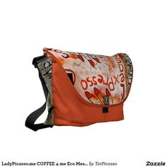 LadyPicasso.me COFFEE 4 me Eco Messenger Commuter Bag: created from original tetkaART