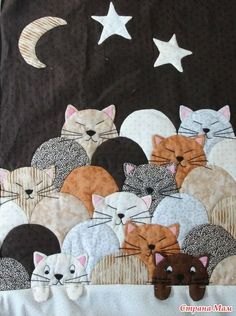 This is a great idea for using a traditional shape and making a cat quilt!! Необычная техника. Пэчворк