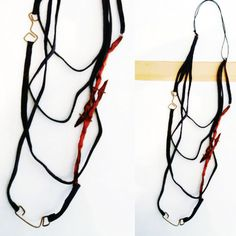 Radica collection_upcycled long necklace leather, paper and copper