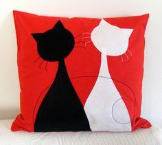 Poszewka koty walentynkowe w BettyPillows na DaWanda.com