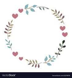 Doodle heart and leaf circle frame Royalty Free Vector Image - Wreath Ideen 2020 Embroidery Patterns Free, Embroidery Designs, Circle Doodles, Doodle Frames, Wreath Drawing, Leaf Template, Bullet Journal Inspiration, Flower Frame, Hand Lettering