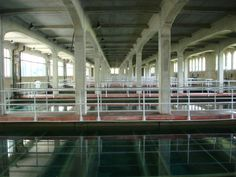 Inside a water treatment holding tank.