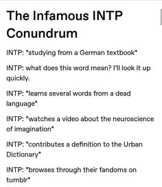 Sounds like an INTJ too lol Intp Personality Type, Myers Briggs Personality Types, Intj Intp, Introvert, Intp Relationships, Intp Female, Mbti Charts, 16 Personalities, Discipline