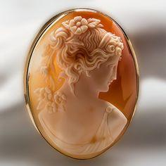 Shell Cameo Brooch Pendant Maiden Profile Solid 18K Gold Fine Estate Jewelry