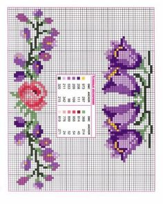 Handicrafts: narrow edges with flowers . - Handicrafts: narrow border with cross stitch flower borders - Cross Stitch Boards, Mini Cross Stitch, Cross Stitch Rose, Cross Stitch Flowers, Loom Beading, Beading Patterns, Embroidery Patterns, Cross Stitching, Cross Stitch Embroidery