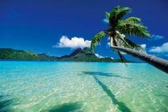 Faanui Bay, as seen from beach on Bora Bora, French Polynesia.