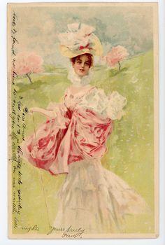 Artist Signed Meissner Buch Series 1183 Beautiful Women Edwardian Dress Hat | eBay