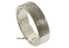 Wide Mens Personalized Fingerprint Wedding Ring with by fabuluster